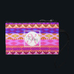"Custom Aztec Girly Monogram Coin Purse<br><div class=""desc"">Custom Monogram on girly Andes Aztec pattern,  customize with your own name and initial and any color type you wish,  just hit &quot;customize it&quot;</div>"