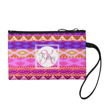 Aztec Themed Custom Aztec Girly Monogram Coin Purse