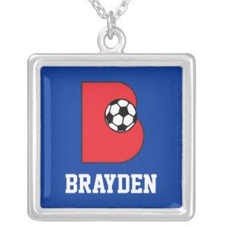 Custom B Monogram in Soccer Red Square Pendant Necklace