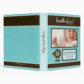 Custom Baby Album: Aqua Lion Bundle of Joy 3 Ring Binder