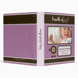 Custom Baby Album: Lavender Lion Bundle of Joy Binder