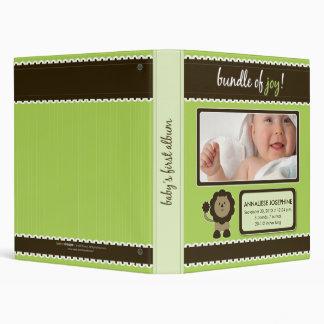Custom Baby Album: Lime Green Lion Bundle of Joy 3 Ring Binder