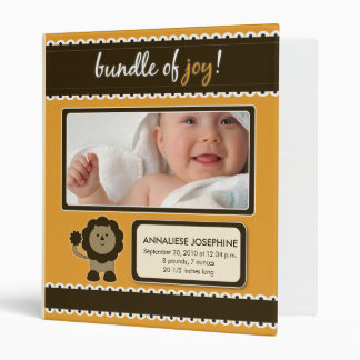 Custom Baby Album: Orange Lion Bundle of Joy Binder