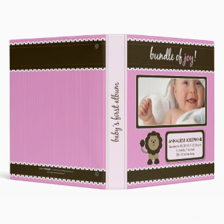 Custom Baby Album: Pink Lion Bundle of Joy Binder