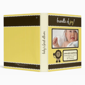 Custom Baby Album: Yellow Lion Bundle of Joy 3 Ring Binder
