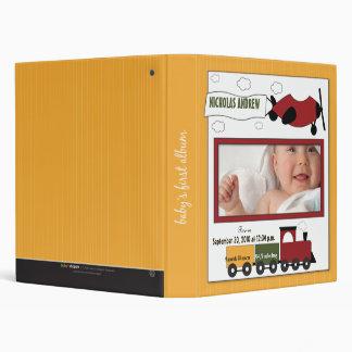 Custom Baby Album: Yellow Planes and Trains 3 Ring Binder