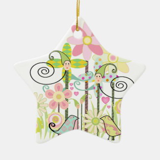 Custom Baby Bird Garden Ceramic Ornament
