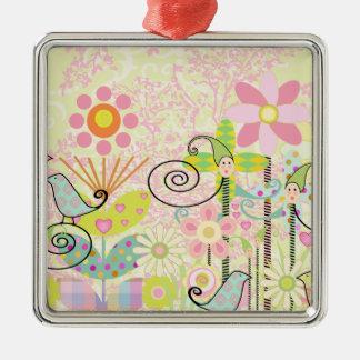 Custom Baby Bird Garden Metal Ornament