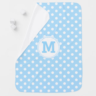 Custom Baby Blue Polka Dot Pattern Monogram Cozy Swaddle Blanket