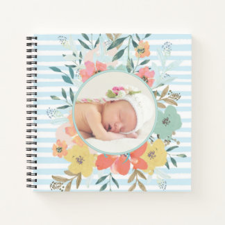 Custom Baby Book with Watercolor Floral