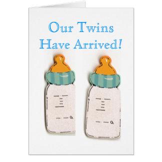 Custom Baby Bottles Twins Birth Announcement