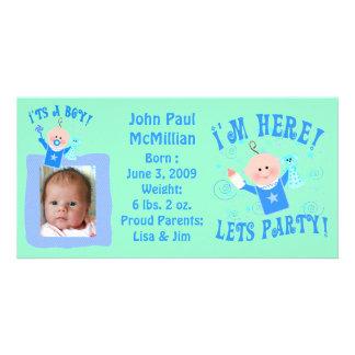 Custom Baby  Boy Announcement Photo Card