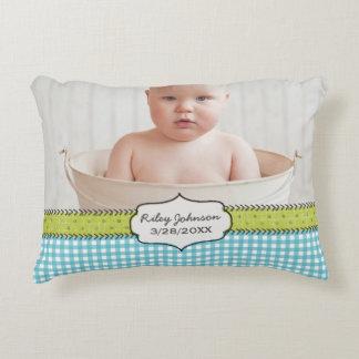 Custom baby boy photo name and birthday keepsake accent pillow