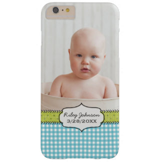 Custom baby boy photo name and birthday keepsake barely there iPhone 6 plus case