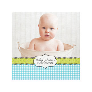 Custom baby boy photo name and birthday keepsake canvas print