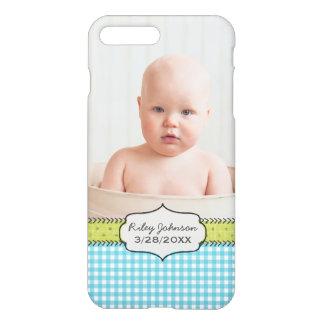 Custom baby boy photo name and birthday keepsake iPhone 7 plus case