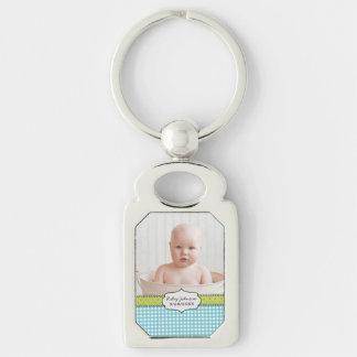 Custom baby boy photo name and birthday keepsake keychain