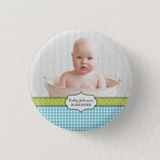 Custom baby boy photo name and birthday keepsake pinback button