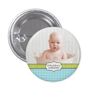 Custom baby boy photo name and birthday keepsake pinback button