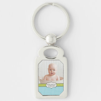 Custom baby boy photo name and birthday keepsake Silver-Colored rectangular metal keychain