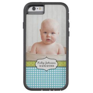 Custom baby boy photo name and birthday keepsake tough xtreme iPhone 6 case