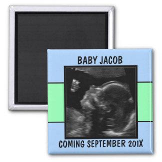 Custom Baby Boy Ultrasound Photo 2 Inch Square Magnet