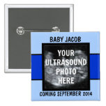 Custom Baby Boy Ultrasound Photo 2 Inch Square Button