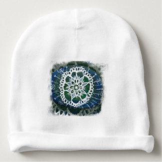 Custom Baby Cotton Beanie White mandala blue