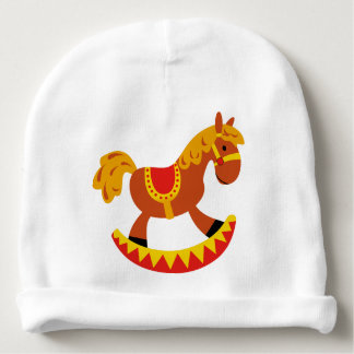 Custom Baby Cotton Beanie with rocking horse