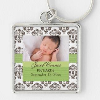 Custom Baby Damask Photo Keychain Green Brown