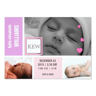 Custom baby girl photo birth announcement