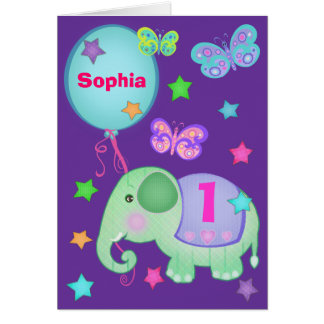 Custom Baby Girl s First Birthday Cupcake Card