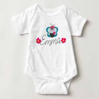 Custom Baby name Butterfly and flower Baby Bodysuit