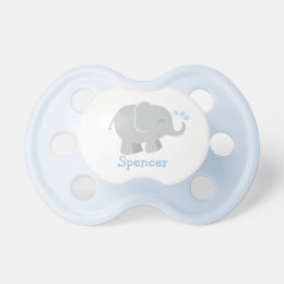 Custom Baby Pacifier | Blue and Gray Elephant