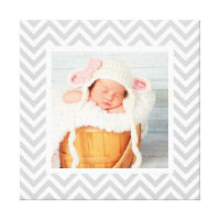 Custom Baby Photo and Chevron Border Nursery Art Canvas Print