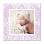 Custom Baby Photo and Damask Border Nursery Art Canvas Print