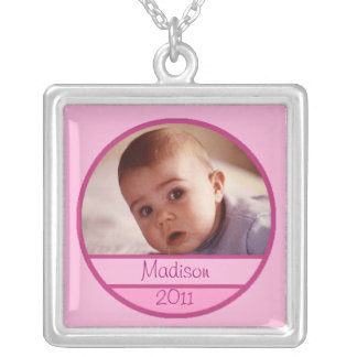 Custom Baby Photo Charm in Pink Silver Plated Necklace