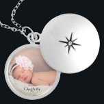 """Custom baby photo name personalized silver plated necklace<br><div class=""""desc"""">Perfect for the new mother,  customize this locket with her newborn's photo and name. Add other text as you'd like.</div>"""