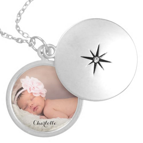 Custom baby photo name personalized silver plated necklace