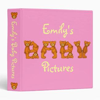 Custom Baby Pictures Book~Bears~Pink~Girl 3 Ring Binder