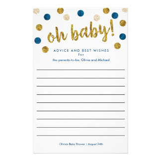 Custom Baby Shower Advice and Wishes | Navy, Gold Flyer