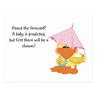 Custom Baby Shower Invite-Pink Duck in Rain Postcard