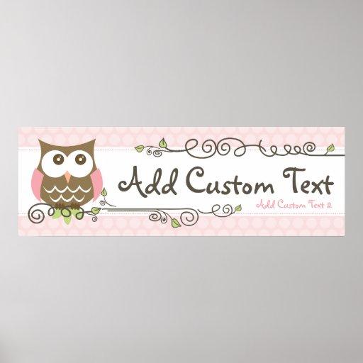 Custom Baby Shower Owl banner Print