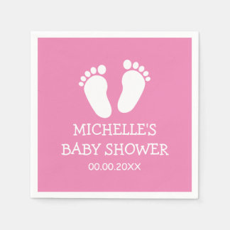 Custom Baby Shower party napkins with footprints