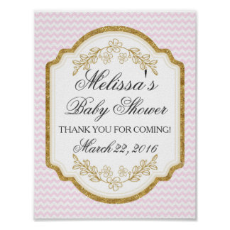 Custom Baby Shower Sign, Pink Gold,Welcome Poster