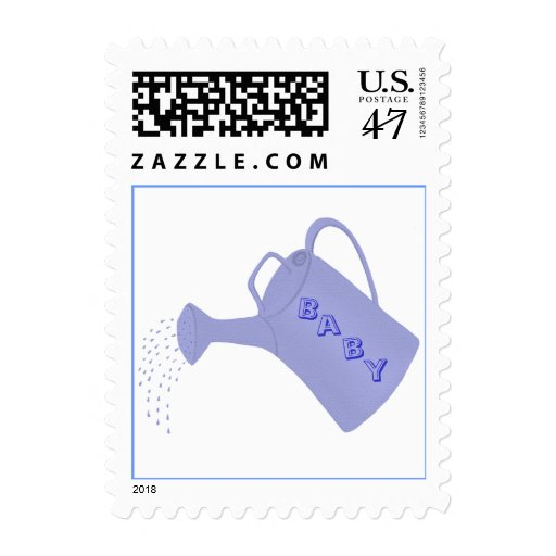 Custom Baby shower stamps, blue water can Postage