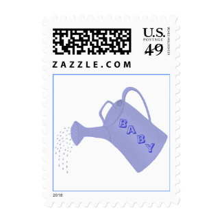 Custom Baby shower stamps, blue water can