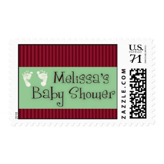 Custom baby shower with red and sage green postage