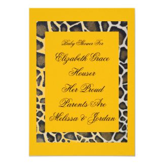 Custom Baby Tropical Yellow Leopard Party Invitati Card
