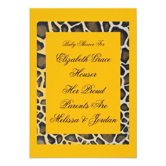 Custom Baby Tropical Yellow Leopard Party Invitati Card